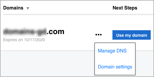Manage DNS is selected from the More list.