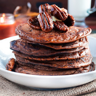 Chocolate Pumpkin Pie Pancakes with Bourbon Maple Syrup