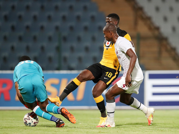 Kgotso Moleko of Kaizer Chiefs is challenged by Njabulo Ngcobo and keeper Vries Virgil of Swallows during the DStv Premiership 2020/21 match between Swallows and Kaizer Chiefs.