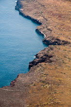 Photo: The rugged coast of Baltra is the first thing we see in the Galapagos; aerial view
