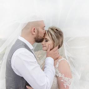 Under the veil by Louise Lacante - Wedding Bride & Groom ( bride, groom, veil, weddings )