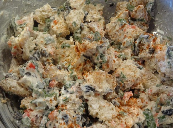 In a small mixing bowl, combine all the stuffing ingredients and gently mix until...