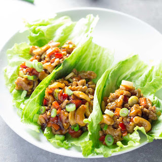 Cashew Chicken Lettuce Wraps with Orange-Ginger Sauce