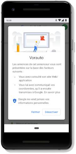 Écran mobile montrant la fonctionnalité de désactivation de certaines publicités
