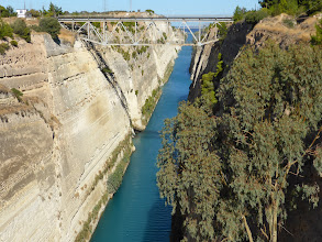 Photo: The ancient Corinth Canal, which connects the Saronic Sea to the Gulf of Corinth in the Peleponnese.