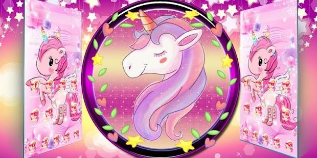 Pink glitter Cute Unicorn Rainbow Theme - náhled