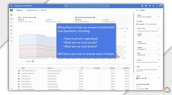"Still image from video of computer monitor that reads Google Cloud Platform Billing reports demo in the upper left corner and in center inset ""Billing Reports help you answer fundamental cost questions, including How much am I spending? What are my cost trends? What are my cost drivers? We'll show you how to answer each of these"""