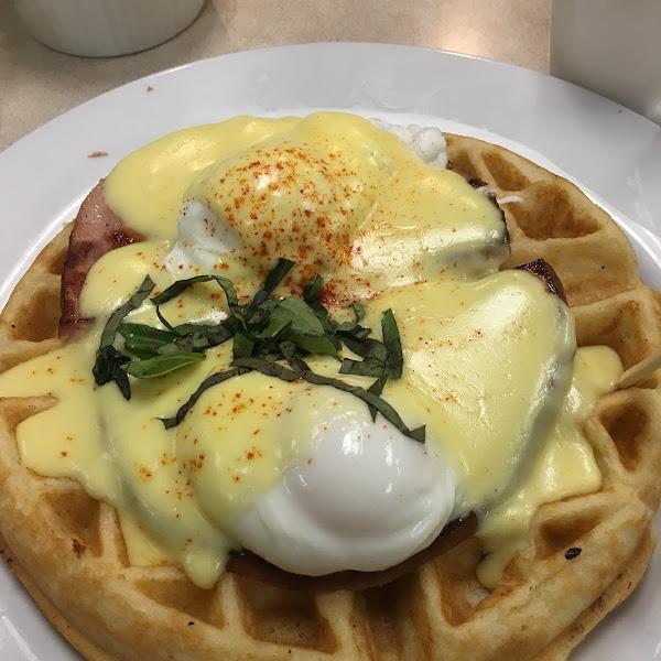 Gluten free waffle benedict