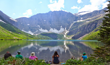 Photo: Group on beach at Helen Lake - headwaters of the Belly River