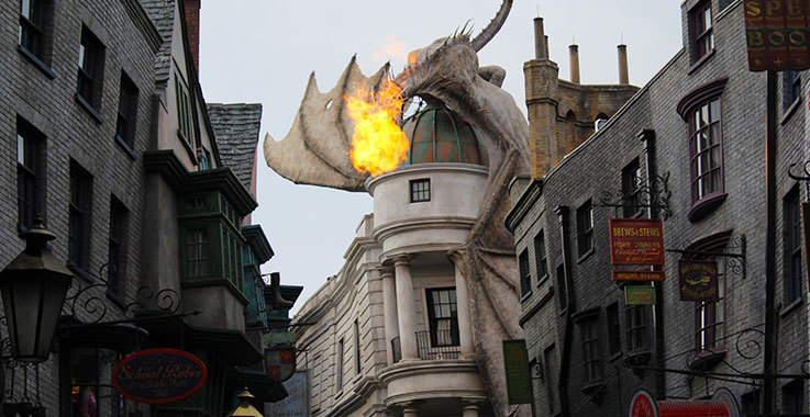 Dragon breathing fire at Hogwarts Castle, Universal Studios