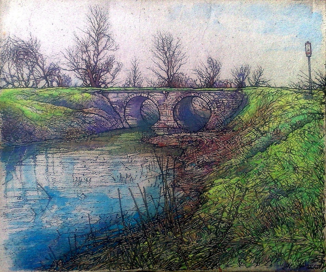 THE OLD STONE BRIDGE IN LATOR CREEK I - Illustration (landscape), MMXIV - Ink and watercolour on carton - 8,66 X 9,84 in.jpg