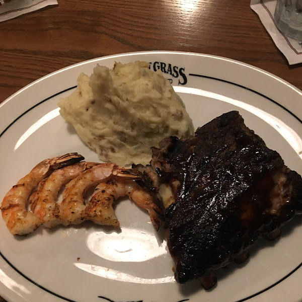 BBQ Baby Back Ribs and Shrimp with Mashed Potatoes