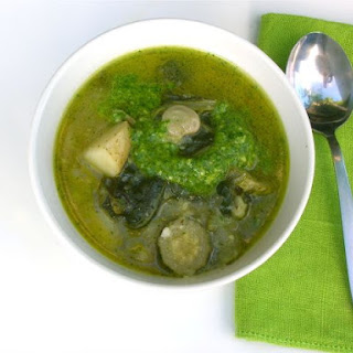 Summer Green Soup with Parsley Pesto