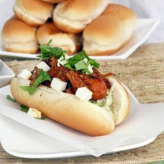 Pulled Pork Hot Dogs with Broccoli Slaw.