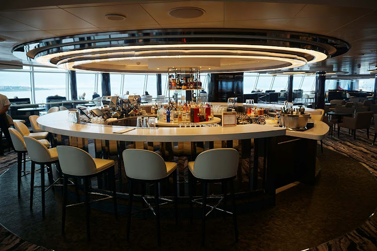 The classy Observation Lounge Bar on Norwegian Bliss. (Click to enlarge.)