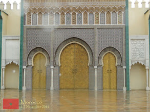 Photo: a closer view of the details of the Royal Palace main gate in Fes