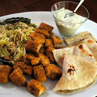 Cajun Cornmeal Crusted Seafood Tacos with Cabbage Slaw