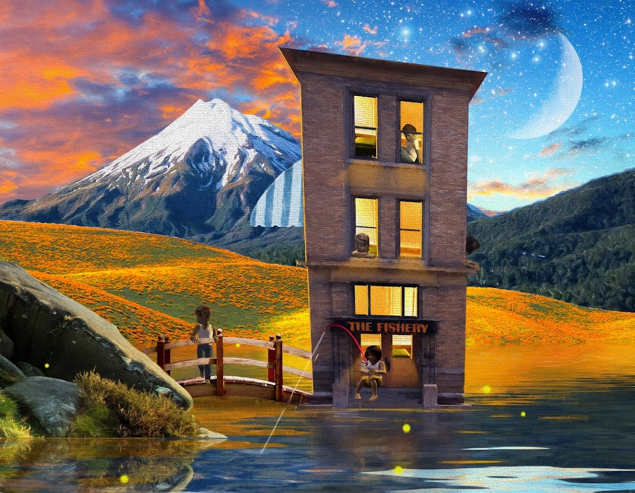 Fishery in the spring by Charlie Alolkoy - Illustration Places ( clouds, moon, mountain, sunset, stars, children, lake, fishing, flowers )