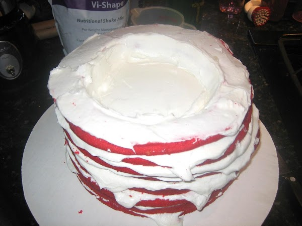 "SLICING LAYERS & ASSEMBLY:  Before starting, you should have:  3 Full 10"" Round Red Cake Layers 1..."