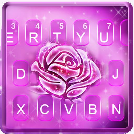 Neon Glitter Rose Keyboard Theme