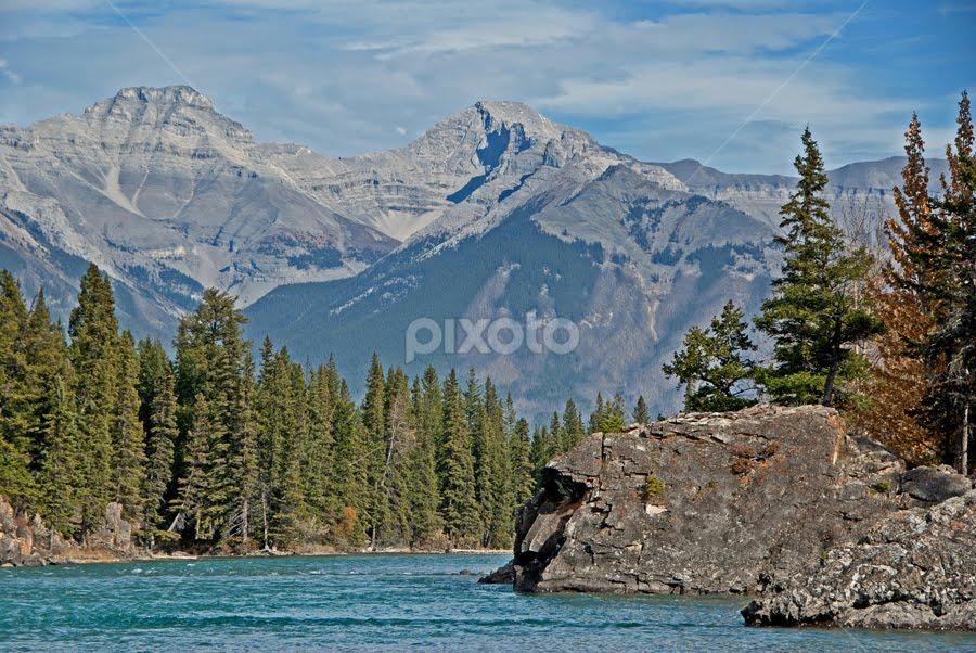 Rocky Mountain Landscape by Keri Harrish - Landscapes Mountains & Hills ( water, alberta, green, beautiful, rocky mountains, forest, landscape, banff, keri harrish, keri, national park, canadian rockies, trees, rocks )