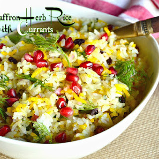 Saffron Yellow and White Rice with Currants and Herbs.