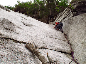 Photo: Kevin about 60 feet up the crack/dihedral.
