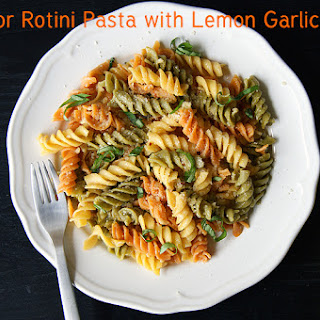 Tri Color Rotini Pasta in Lemon Garlic Sauce
