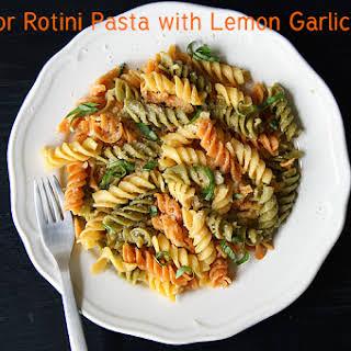 Tri Color Rotini Pasta in Lemon Garlic Sauce.