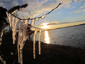 Photo: Sunset over a lake and icicles at Eastwood Park in Dayton, Ohio.