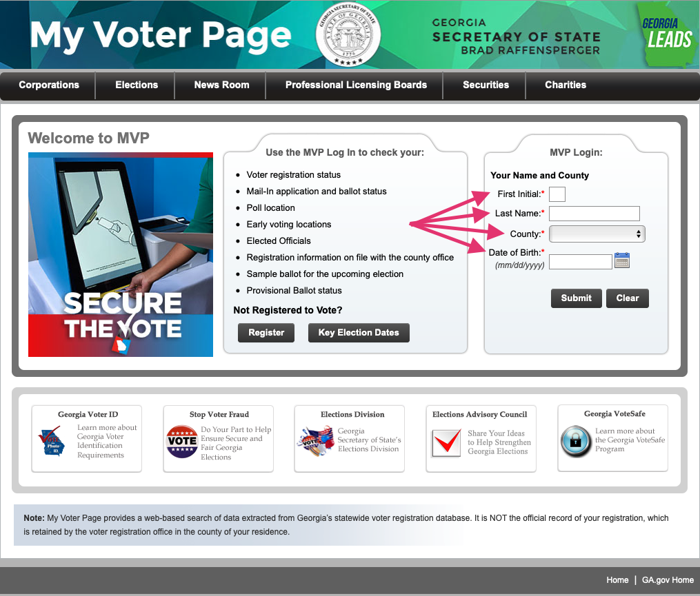 "A screenshot of the Georgia Secretary of State's ""My Voter Page,"" indicating how to check a voter's polling location."