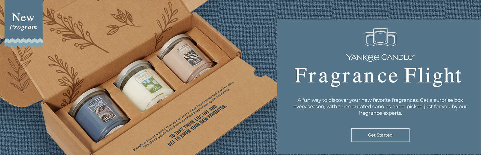 Image of Yankee Candle's subscription program on their website