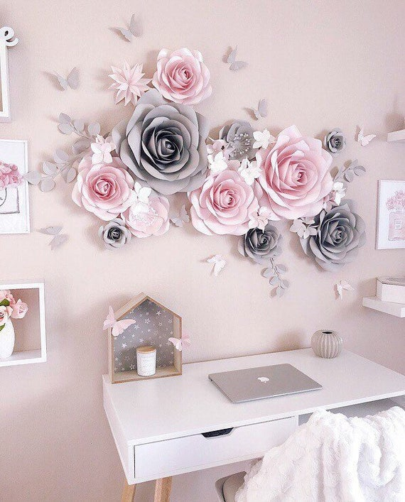 DIY Flowers for Some Cheap Large Wall Art