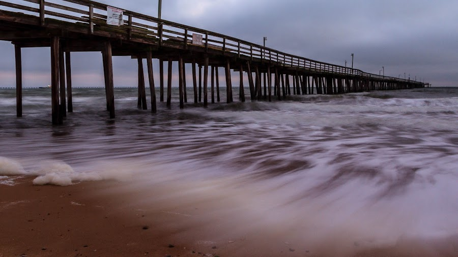 Early Morning @ The Pier by Allen Wesley - Buildings & Architecture Bridges & Suspended Structures ( water, beach scene, wooden pier, waterscape, suspended structure, pier, ocean front, sunrise, ocean view,  )