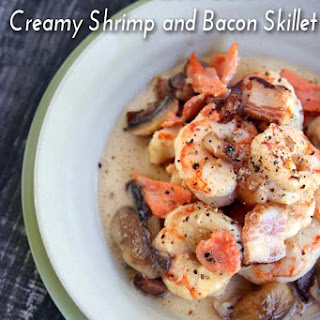 Creamy Shrimp And Bacon Skillet.
