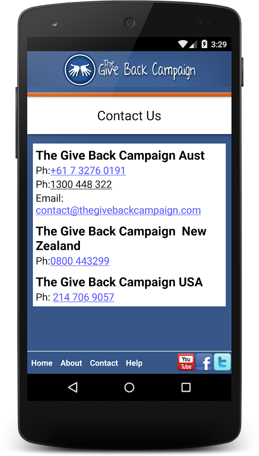 Give Back Campaign- screenshot