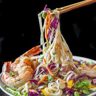 Ginger Miso Slaw with Edamame, Rice Noodles & Shrimp.