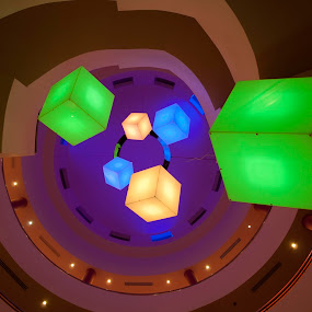 Ceiling light installation, Mespil Hotel in Limerick, Ireland by Anna Stephens - Abstract Fine Art ( lights, limerick, ceiling, cubes, mespil hotel )