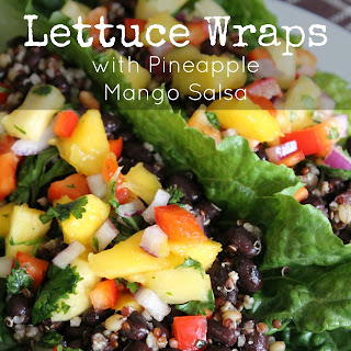 Mexican Lettuce Wraps with Pineapple Mango Salsa.