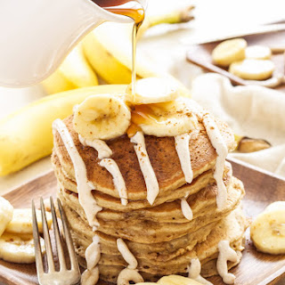 Banana Bread Pancakes with Cinnamon Cream Cheese Glaze