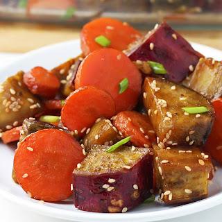 Honey Sesame Roasted Sweet Potato and Carrots