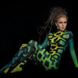 FIn by Dan Pham - Nudes & Boudoir Artistic Nude ( greenish, body painting, artistic, beauty, women )
