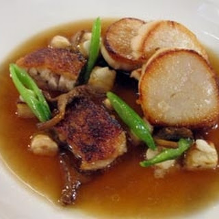 Pan-roasted Scallops With Confit Chicken Wings.