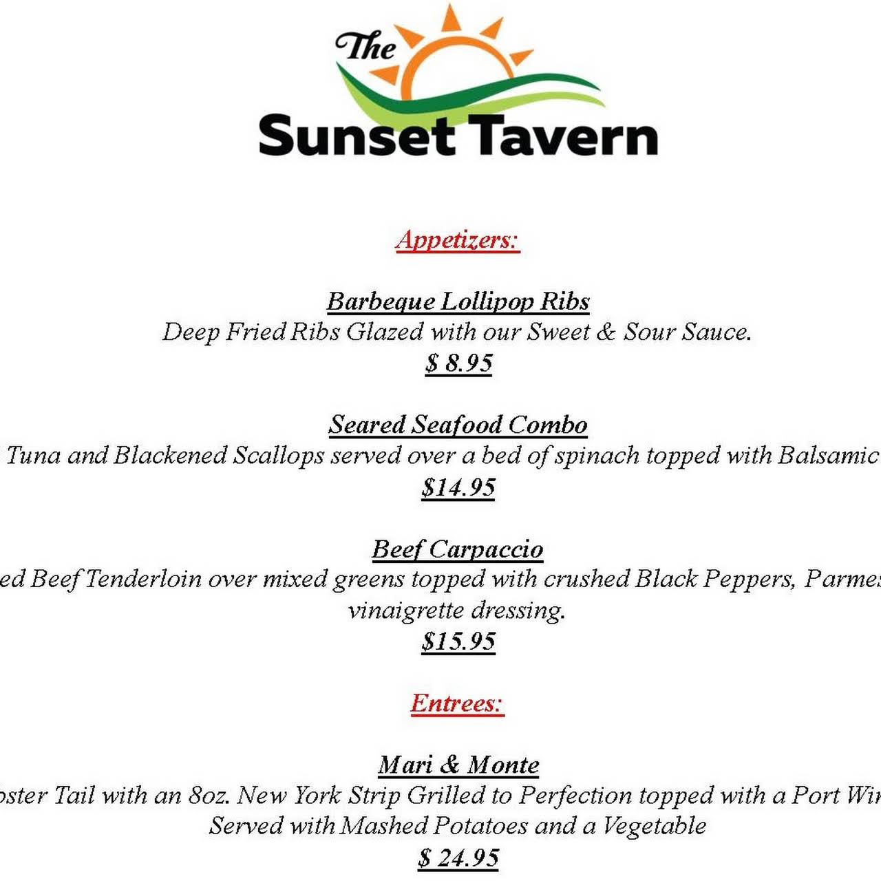 The Sunset Tavern - Family Restaurant & Bar in Suffield, CT