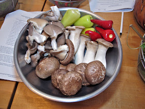 Photo: three kinds of mushrooms and two kinds of peppers for grilling