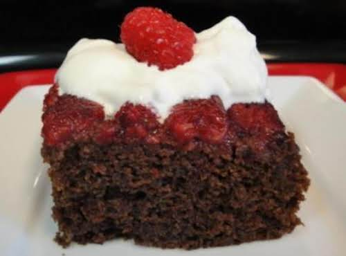 "Spicy Chocolate Raspberry Upside-Down Cake with Raspberry Chantilly Cream ""I made it tonight......"