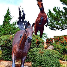 Leaping Horses* by Rob Bradshaw - Artistic Objects Still Life ( ruidoso downs, still life, ruidoso, sculpture, artistic object, new mexico, leaping horses, horses, horse racing track )