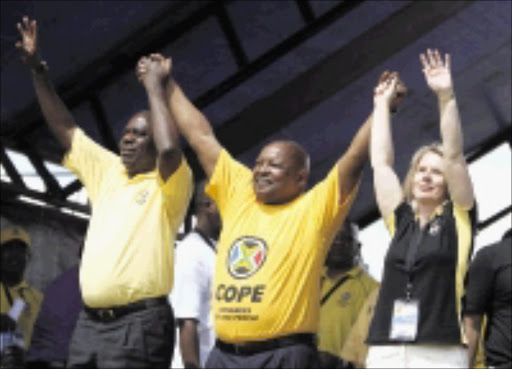 FLASHBACK: A newly formed Congress of the People (Cope) with its then top leadership, deputy president Mbhazima Shilowa, president Mosiuoa Lekota and deputy president Lynda Odendaal. Pic: SIMPHIWE NKWALI. 16/12/2008. © Sunday Times.