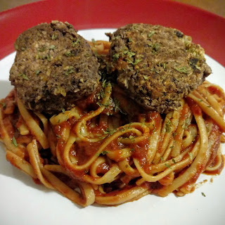 Spicy Black Bean Balls with Chipotle Pasta Sauce