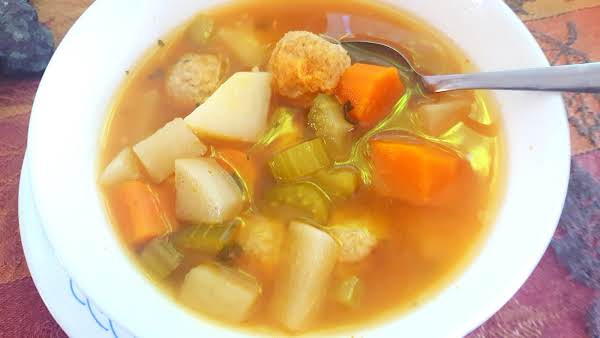Instant Pot Chicken Meatball & Root Vegetable Soup